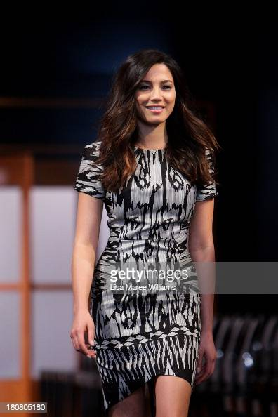 Jessica Gomes showcases designs by Ginger Smart during rehearsal ahead of the David Jones A/W 2013 Season Launch at David Jones Castlereagh Street on...