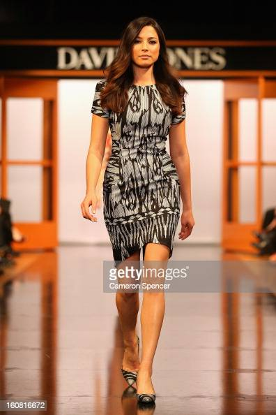 Jessica Gomes showcases designs by Ginger Smart on the runway during the David Jones A/W 2013 Season Launch at David Jones Castlereagh Street on...
