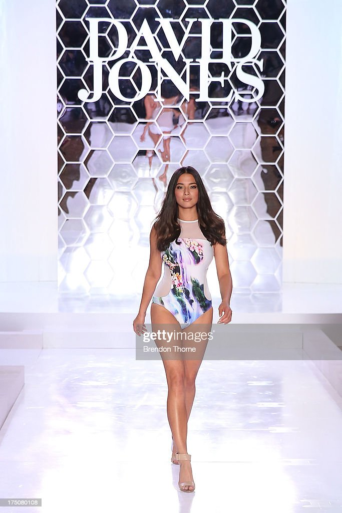 Jessica Gomes showcases designs by Isola by Megan Gale at the David Jones Spring/Summer 2013 Collection Launch at David Jones Elizabeth Street on July 31, 2013 in Sydney, Australia.