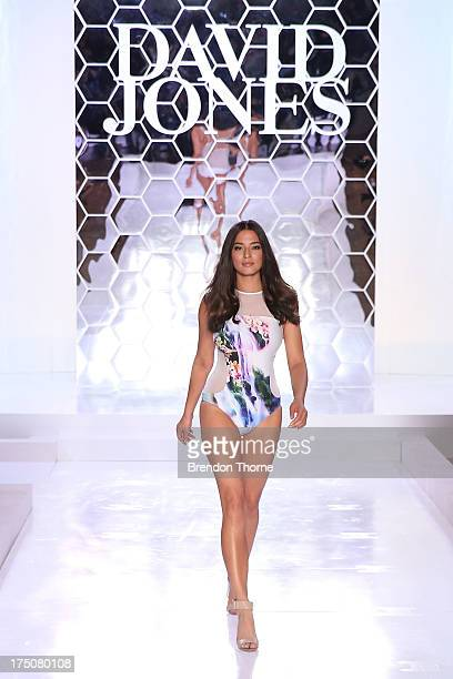 Jessica Gomes showcases designs by Isola by Megan Gale at the David Jones Spring/Summer 2013 Collection Launch at David Jones Elizabeth Street on...