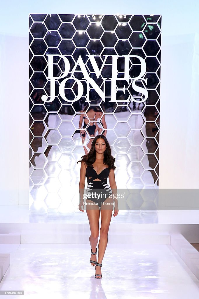 Jessica Gomes showcases designs by Jets at the David Jones Spring/Summer 2013 Collection Launch at David Jones Elizabeth Street on July 31, 2013 in Sydney, Australia.