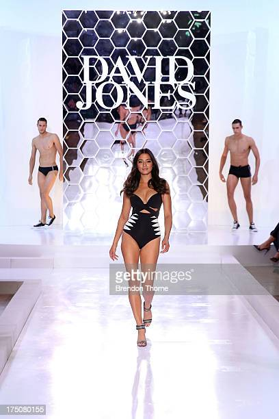 Jessica Gomes showcases designs by Jets at the David Jones Spring/Summer 2013 Collection Launch at David Jones Elizabeth Street on July 31 2013 in...