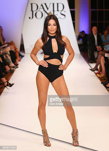 Jessica Gomes showcases designs by Jets at the David Jones Spring/Summer 2014 Collection Launch at David Jones Elizabeth Street Store on July 30 2014...