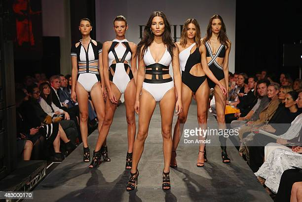 Jessica Gomes showcases designs by Jets on the runway at the David Jones Spring/Summer 2015 Fashion Launch on August 5 2015 in Sydney Australia