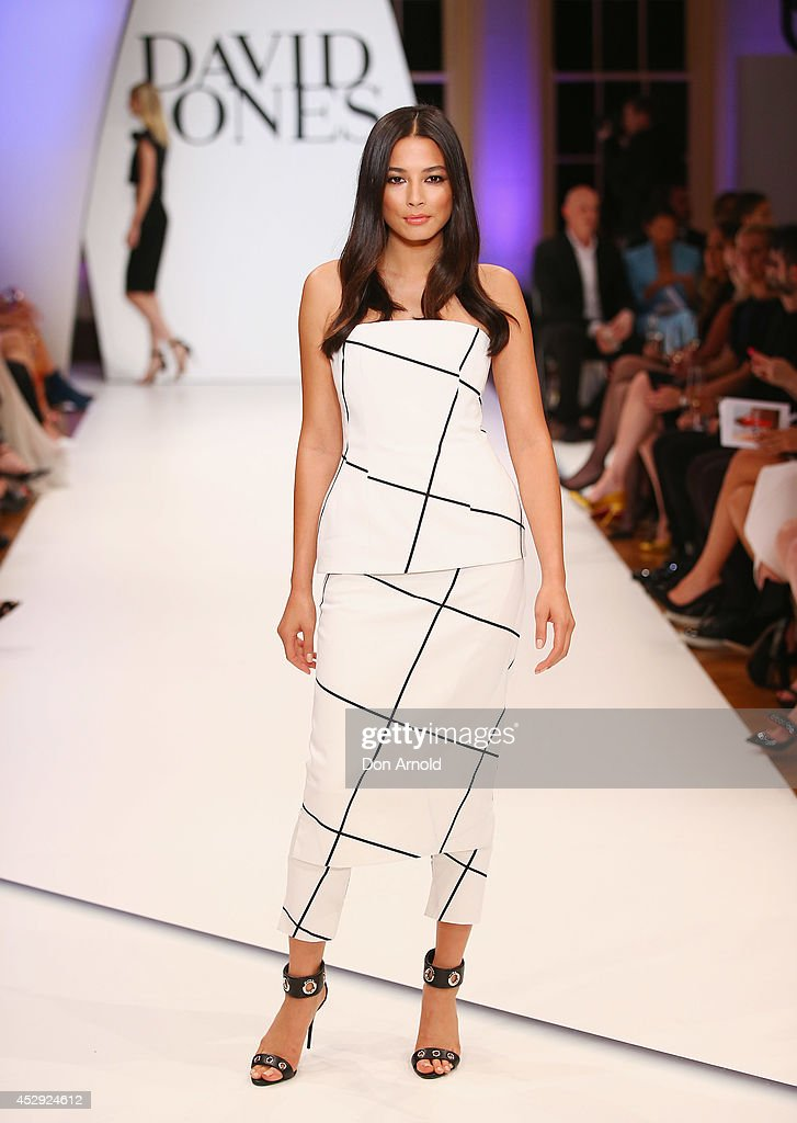 Jessica Gomes showcases designs by Josh Goot at the David Jones Spring/Summer 2014 Collection Launch at David Jones Elizabeth Street Store on July 30...
