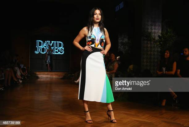 Jessica Gomes showcases designs by Josh Goot at the David Jones A/W 2014 Collection Launch at the David Jones Elizabeth Street Store on January 29...