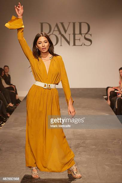 Jessica Gomes showcases designs by KITX during rehearsal ahead of the David Jones Spring/Summer 2015 Fashion Launch at David Jones Elizabeth Street...