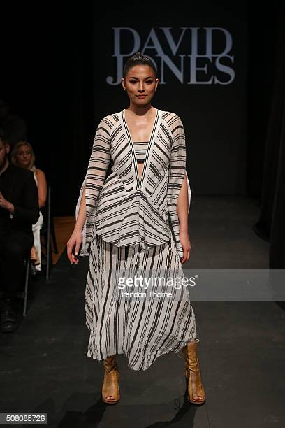 Jessica Gomes showcases designs by Kitx during rehearsal ahead of the David Jones Autumn/Winter 2016 Fashion Launch at David Jones Elizabeth Street...
