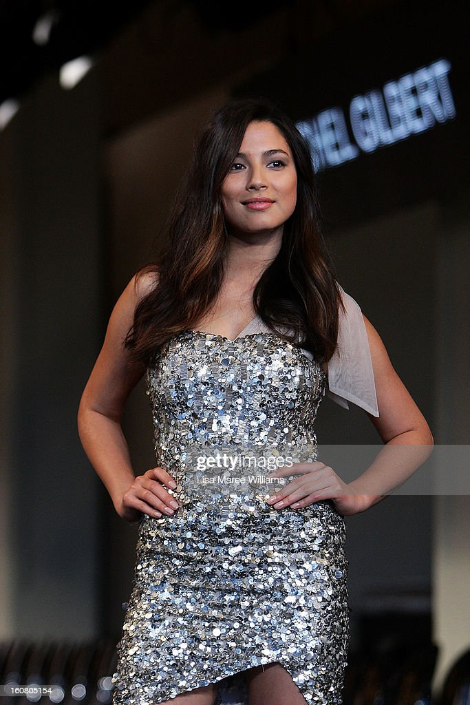 Jessica Gomes showcases designs by Rachel Gilbert during rehearsal ahead of the David Jones A/W 2013 Season Launch at David Jones Castlereagh Street on February 6, 2013 in Sydney, Australia.