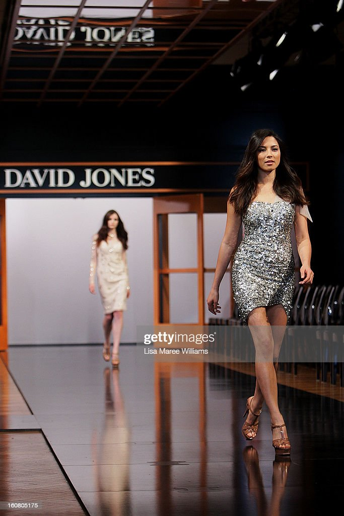 Jessica Gomes showcases designs by Rachel Gilbert during rehearsal ahead of the David Jones A/W 2013 Season Launch at David Jones Castlereagh Street on February 6, 2013 in Sydney, Australia.