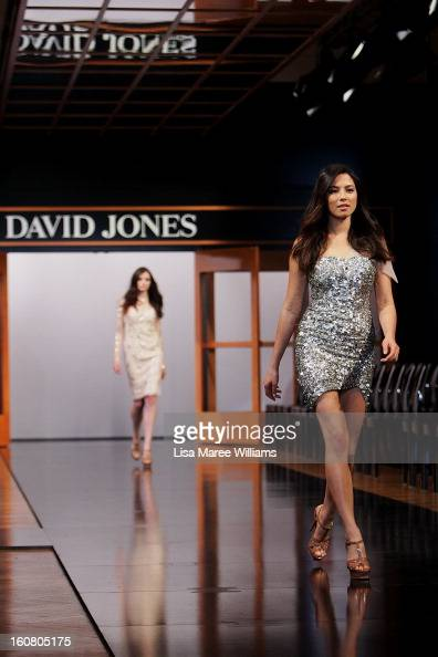 Jessica Gomes showcases designs by Rachel Gilbert during rehearsal ahead of the David Jones A/W 2013 Season Launch at David Jones Castlereagh Street...