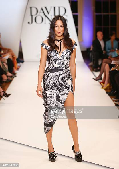 Jessica Gomes showcases designs by Zimmerman at the David Jones Spring/Summer 2014 Collection Launch at David Jones Elizabeth Street Store on July 30...