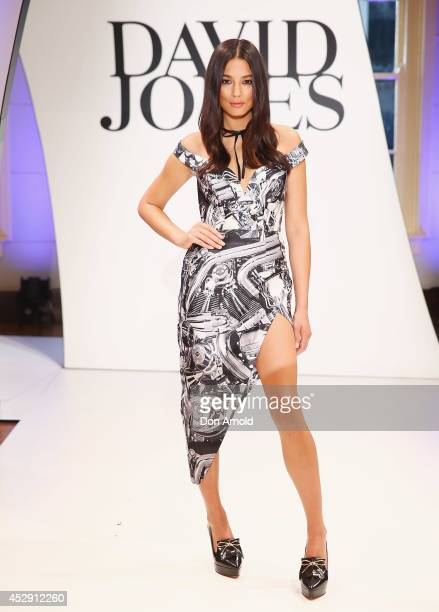 Jessica Gomes showcases designs by Zimmerman during a rehearsal ahead of the David Jones Spring/Summer 2014 Collection Launch at David Jones...