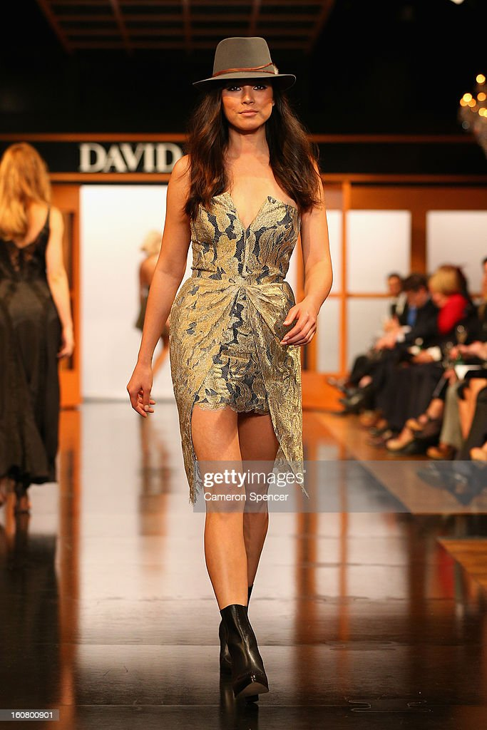 Jessica Gomes showcases designs by Zimmermann on the runway during the David Jones A/W 2013 Season Launch at David Jones Castlereagh Street on February 6, 2013 in Sydney, Australia.