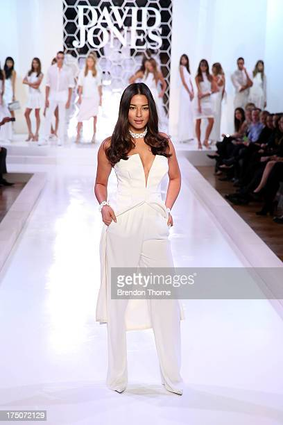 Jessica Gomes showcases designs during a rehearsal ahead of the David Jones Spring/Summer 2013 Collection Launch at David Jones Elizabeth Street on...