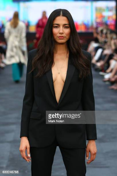 Jessica Gomes showcases designs during the Women's International show at rehearsal ahead of the David Jones Autumn/Winter 2016 Fashion Launch at St...