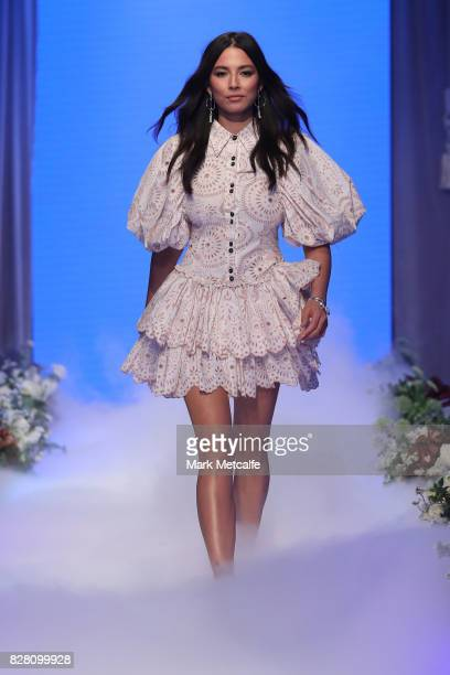 Jessica Gomes walks the runway in a design by Aje during the David Jones Spring Summer 2017 Collections Launch at David Jones Elizabeth Street Store...