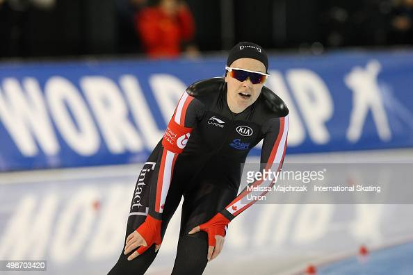 Jessica Gregg of Canada competes in the Ladies 500m on day one of the ISU World Cup Speed Skating Salt Lake City event at the Utah Olympic Oval on...