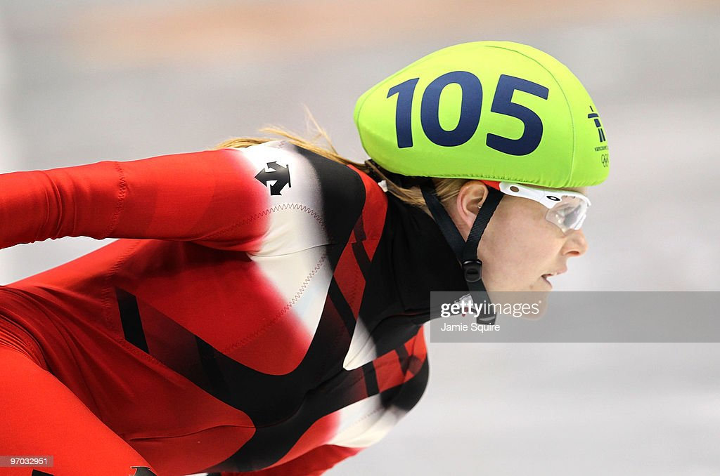Jessica Gregg of Canada competes in the Short Track Speed Skating Ladies 1000m heat on day 13 of the 2010 Vancouver Winter Olympics at Pacific...