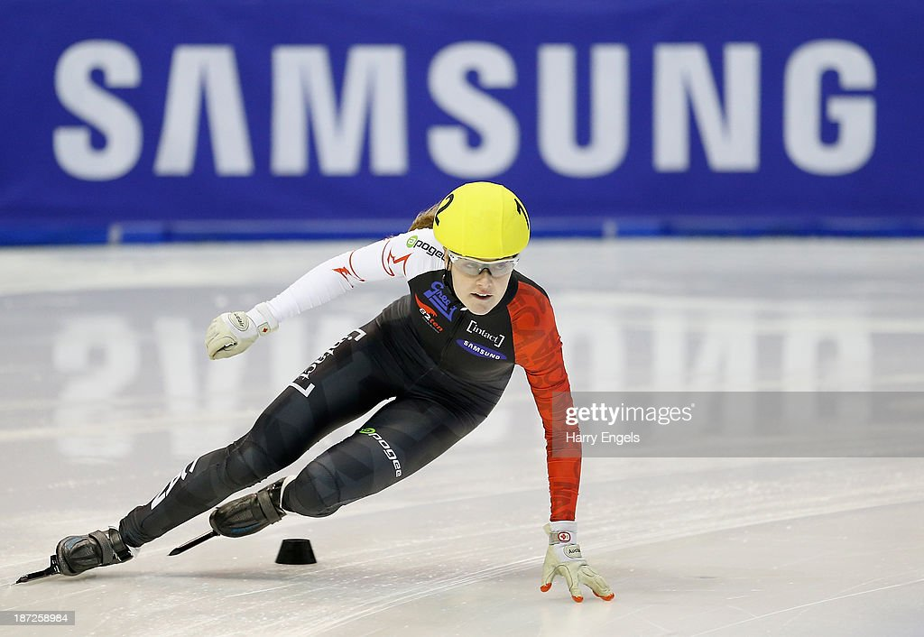Jessica Gregg of Canada in action during the Women's 500m prepreliminaries during day one of the Samsung ISU Short Track World Cup at the Palatazzoli...