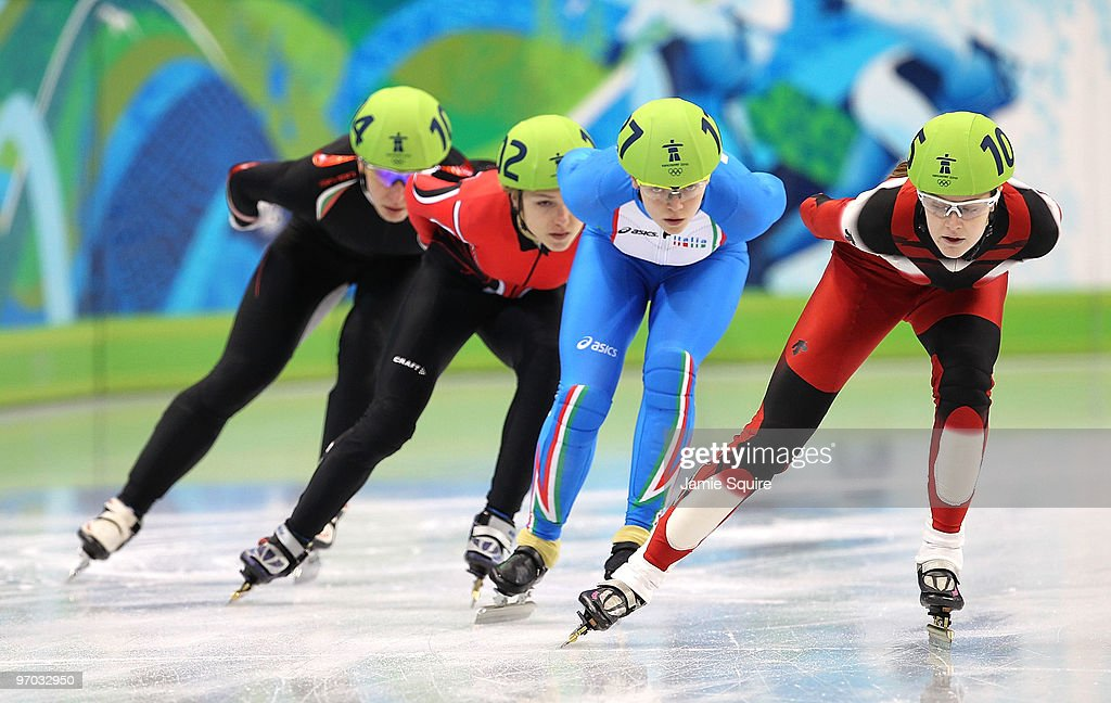 Jessica Gregg of Canada leads Arianna Fontana of Italy Veronika Windisch of Austria and Evgeniya Radanova of Bulgaria in the Short Track Speed...