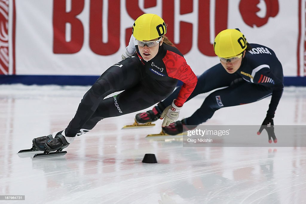 Jessica Gregg of Canada leads the group during the Women's 1500m preliminaries during day one of the Samsung ISU Short Track World Cup at the on...