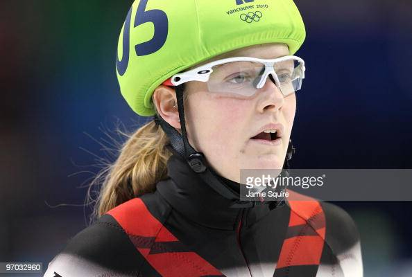Jessica Gregg of Canada looks on during the Short Track Speed Skating Ladies 1000m heat on day 13 of the 2010 Vancouver Winter Olympics at Pacific...