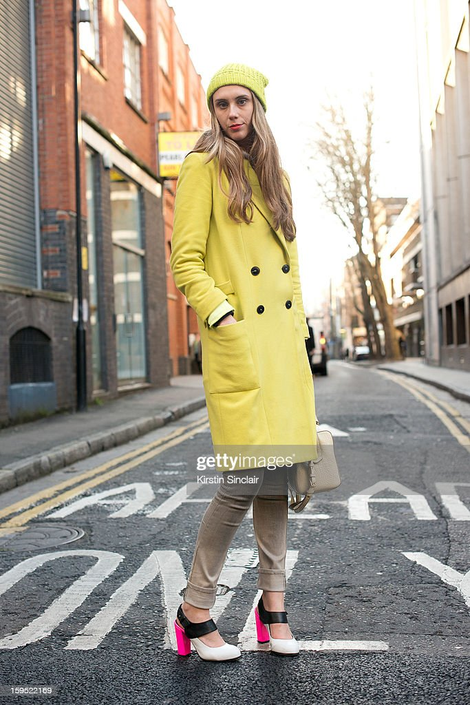 Jessica Hannan marketing editor at Net a Porter wearing an H and M sweater, Top shop shoes, Cecilia Hammarborg jacket, Cheap Monday jeans, Bimba and Lola bag and a Laundry hat on day 3 of London Mens Fashion Week Autumn/Winter 2013, on January 09, 2013 in London, England.