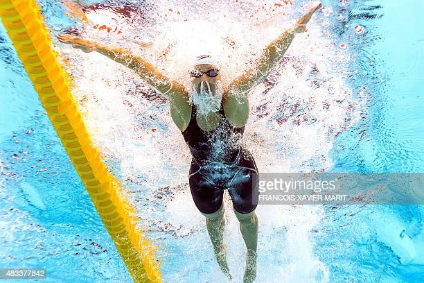 Jessica Hardy competes in the preliminary heats of the women's 50m breaststroke swimming event at the 2015 FINA World Championships in Kazan on...