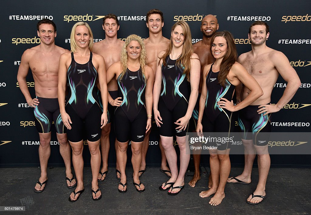 Jessica Hardy, Elizabeth Beisel, Missy Franklin, Natalie Coughlin (back row L-R) Ryan Lochte, Conor Dwyer, Nathan Adrian, Cullen Jones and Tyler Clary appear during the New York launch of Team Speedo and Speedo's Fastskin LZR Racer X on December 15, 2015 in New York City. #TeamSpeedo