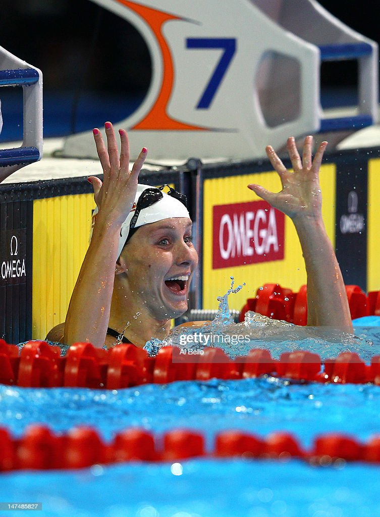 Jessica Hardy reacts after she competed in the championship final of the Women's 100 m Freestyleduring Day Six of the 2012 U.S. Olympic Swimming Team Trials at CenturyLink Center on June 30, 2012 in Omaha, Nebraska.