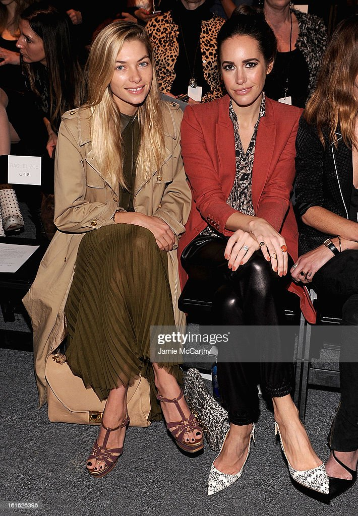 Jessica Hart and Louise Row attend Rachel Zoe during Fall 2013 Mercedes-Benz Fashion Week at The Studio at Lincoln Center on February 13, 2013 in New York City.