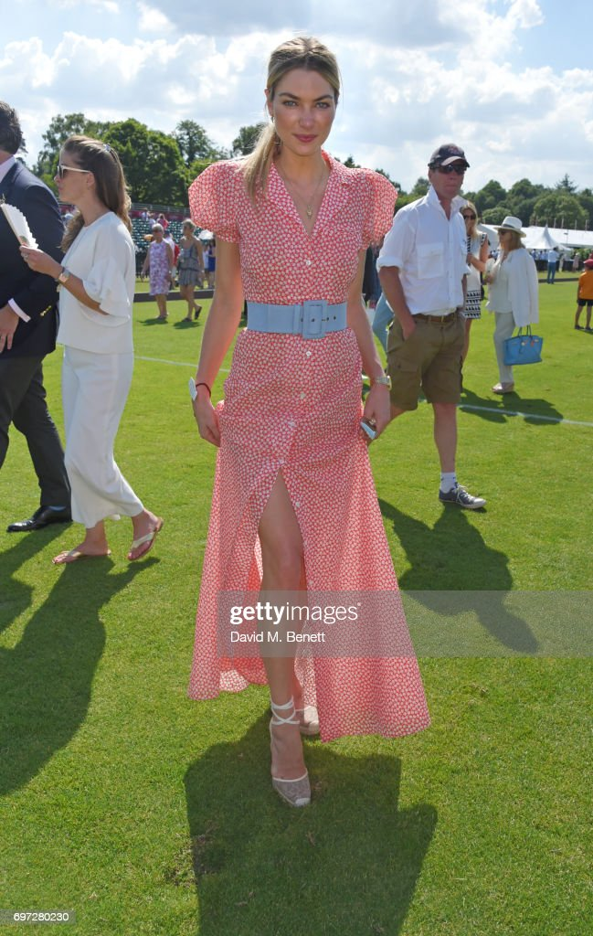 Jessica Hart attends the Cartier Queen's Cup Polo final at Guards Polo Club on June 18, 2017 in Egham, England.