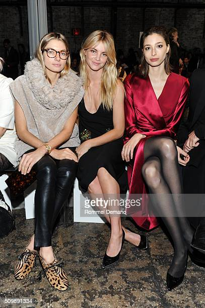 Jessica Hart Elyse Taylor and Alexandra Agoston attend International Woolmark Prize Womenswear Final at Cedar Lake on February 12 2016 in New York...