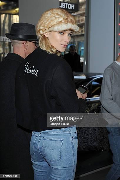 Jessica Hart is seen leaving the Sonia Rykiel Fashion Show during Paris Fashion Week Womenswear Fall/Winter 20142015 on February 28 2014 in Paris...