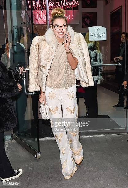 Jessica Hart is seen outside the DVF show during New York Fashion Week Women's Fall/Winter 2016 on February 14 2016 in New York City