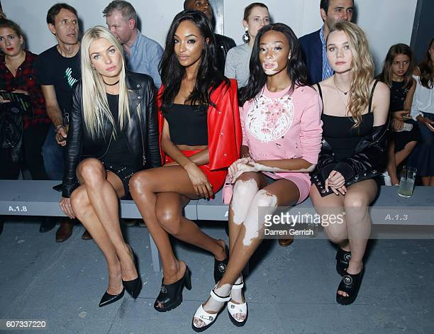 Jessica Hart Jourdan Dunn Winnie Harlow and Immy Waterhouse attend the Versus Versace show during London Fashion Week Spring/Summer collections...