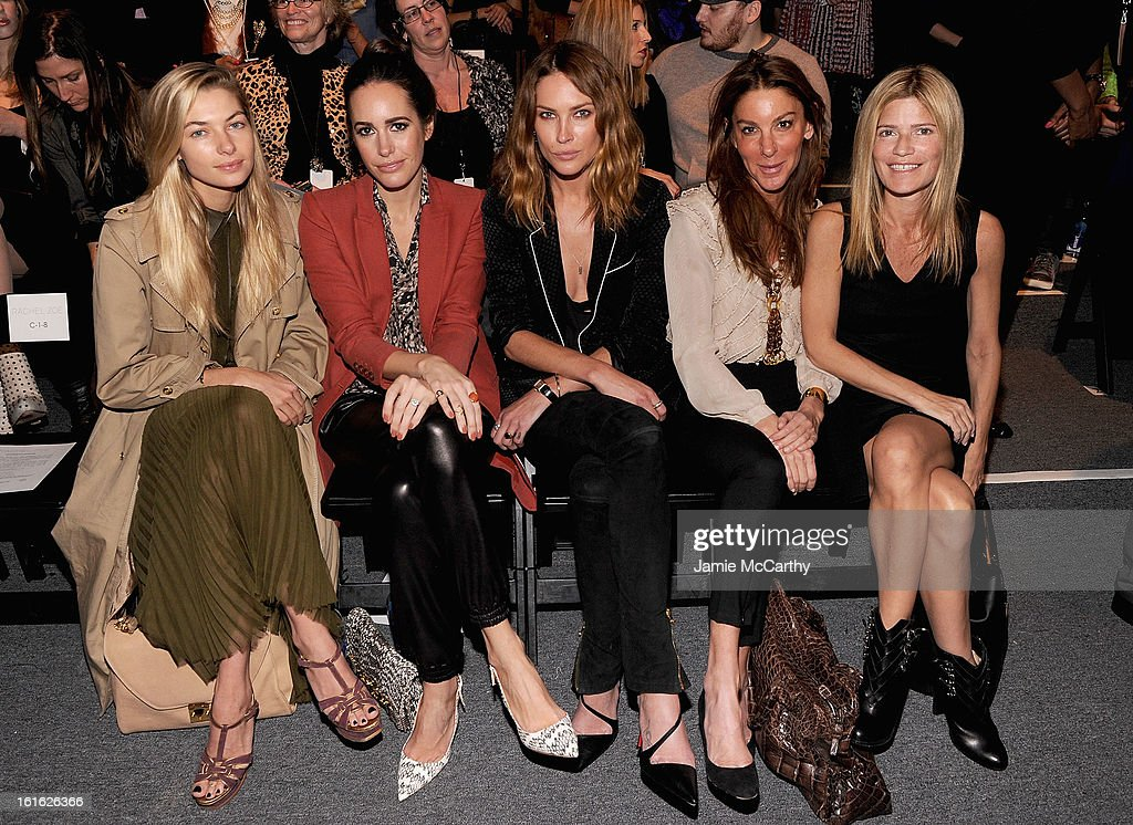 Jessica Hart, Louise Row,Erin Wasson,Dori Cooperman and Lizzie Grubman attend Rachel Zoe during Fall 2013 Mercedes-Benz Fashion Week at The Studio at Lincoln Center on February 13, 2013 in New York City.