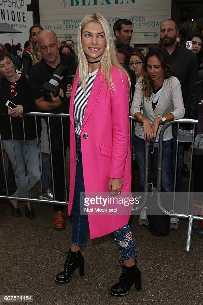 Jessica Hart seen arriving at Topshop Unique on Day 3 of London Fashion Week Spring/Summer 2017 on September 18 2016 in London England