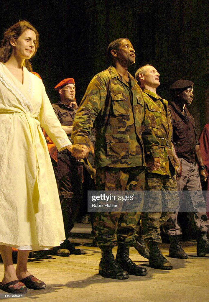 Jessica Hecht and Denzel Washington during The Broadway Opening of 'Julius Caesar' starring Denzel Washington April 3 2005 at The Belasco Theatre and...