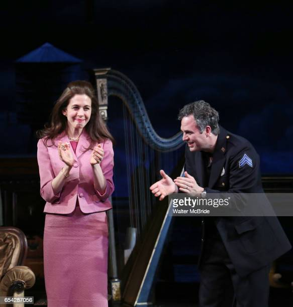 Jessica Hecht and Mark Ruffalo during Broadway Opening Night performance Curtain call for the Roundabout Theatre Production of 'The Price' at the...