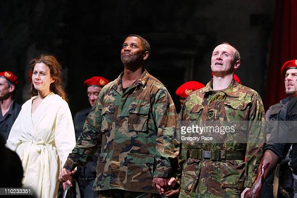 Jessica Hecht Denzel Washington and Colm Feore during 'Julius Caesar' Broadway Opening Night Curtain Call at The Belasco Theater in New York City New...