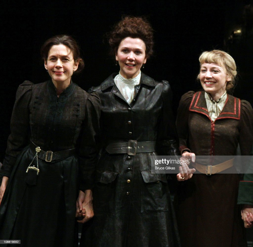Jessica Hecht Maggie Gyllenhaal and Juliet Rylance take the Opening Night curtain call for 'Three Sisters' OffBroadway at the Classical Stage Company...