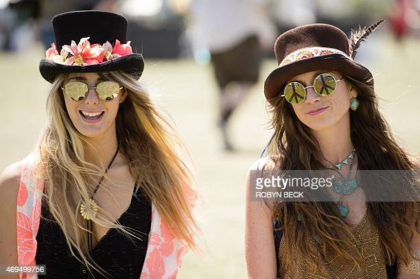 Jessica Hewins ad Emily Bargeron from Savanah Georgia wear clothing from their fashion design company MamieRuth on day three of the Coachella Music...