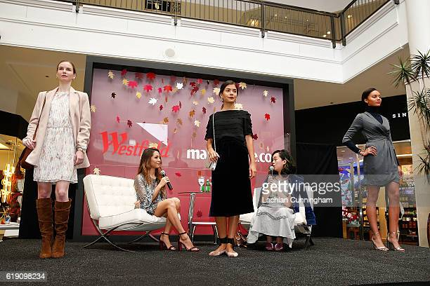 Jessica Hicks of Haps Time and Chelsea Peng of MarieClaircom discuss models outfits with the audience during Westfield Valley Fair x MarieClairecom...