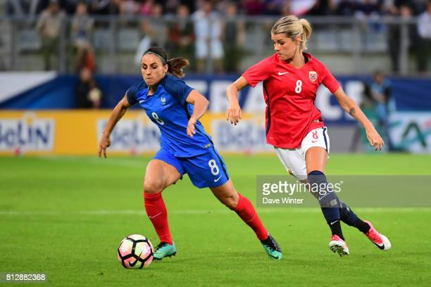Jessica Houara of France and Andrine Stolsmo Hegerberg of Norway during the women's international friendly match between France and Norway on July 11...