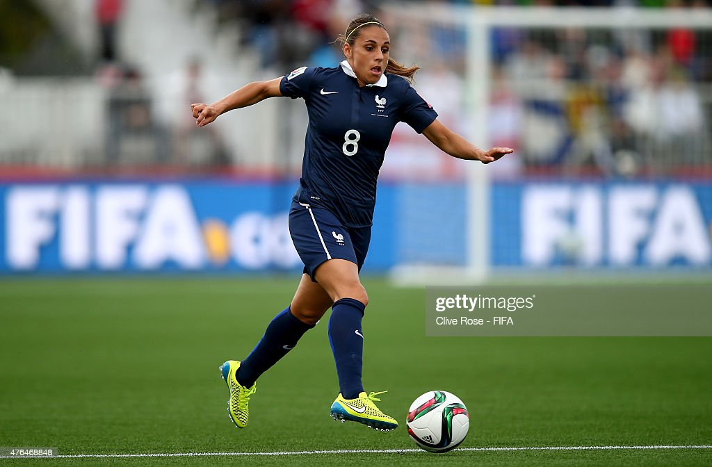 <a gi-track='captionPersonalityLinkClicked' href=/galleries/search?phrase=Jessica+Houara&family=editorial&specificpeople=6380286 ng-click='$event.stopPropagation()'>Jessica Houara</a> of France in action during the FIFA Women's World Cup 2015 Group F match between France and England at the Moncton Stadium on June 9, 2015 in Moncton, Canada.