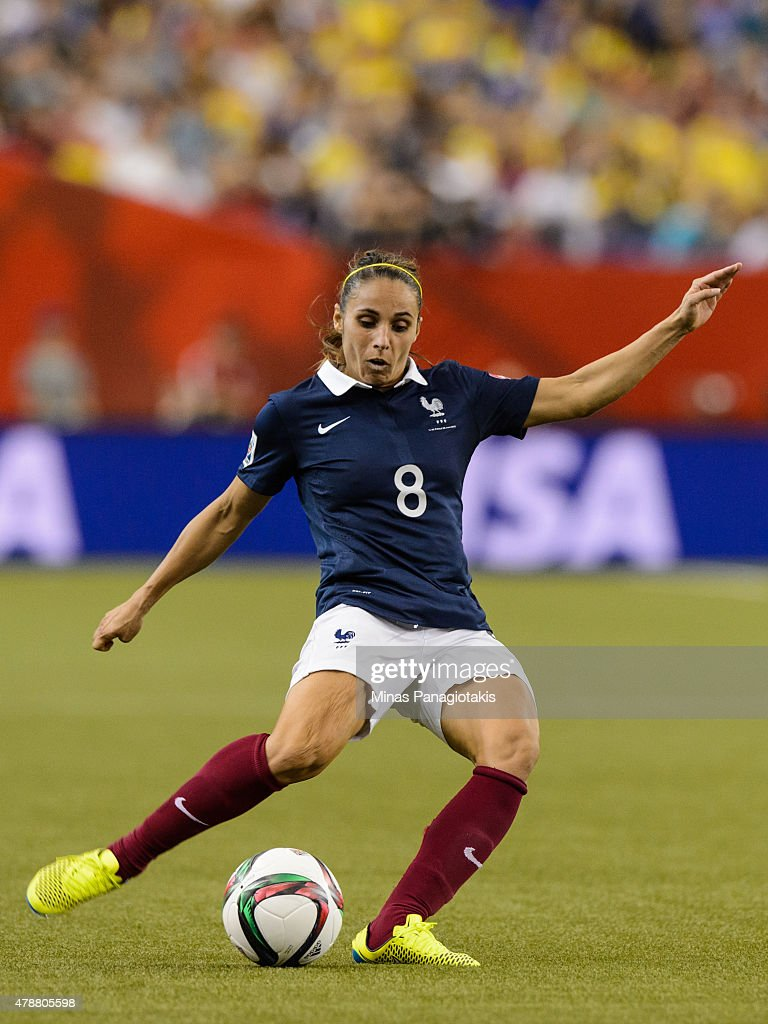 <a gi-track='captionPersonalityLinkClicked' href=/galleries/search?phrase=Jessica+Houara&family=editorial&specificpeople=6380286 ng-click='$event.stopPropagation()'>Jessica Houara</a> #8 of France plays the ball during the 2015 FIFA Women's World Cup quarter final match against Germany at Olympic Stadium on June 26, 2015 in Montreal, Quebec, Canada. Germany defeated France 5-4 on penalty kicks and move to the semifinal round.