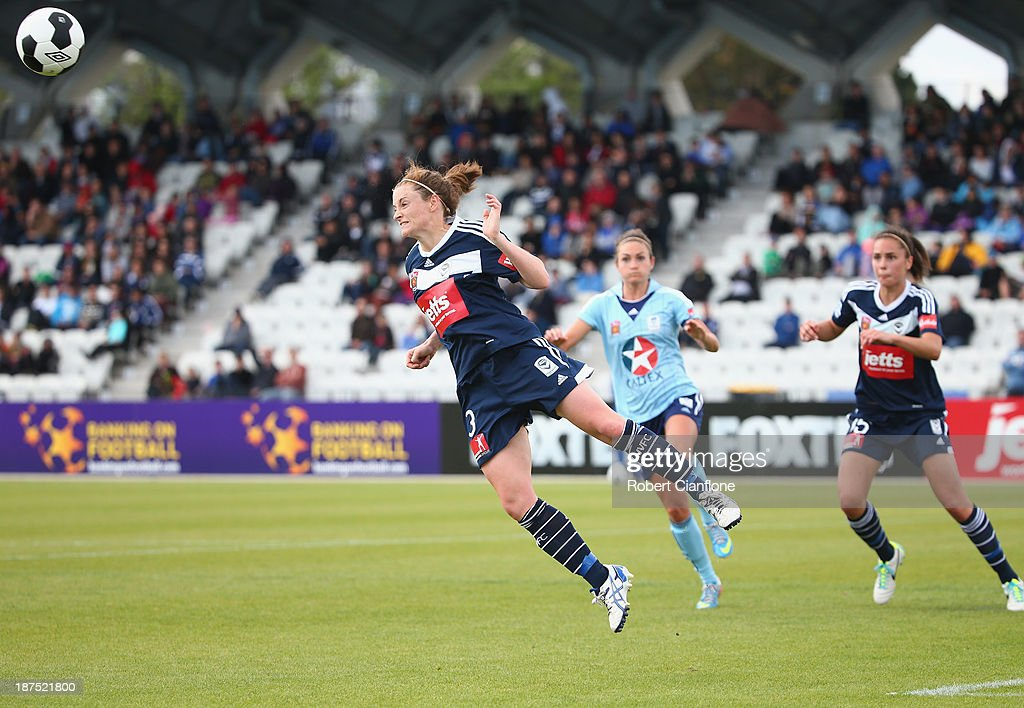 Jessica Humble of the Victory heads the ball during the round one W-League match between the Melbourne Victory and Sydney FC at Lakeside Stadium on November 10, 2013 in Melbourne, Australia.