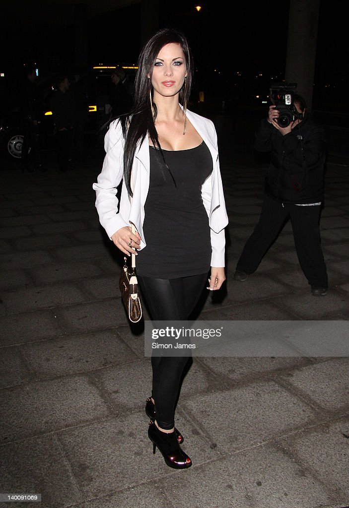 Jessica Jane Clement seen arriving at the Sky bar, Millbank Tower on February 27, 2012 in London, England.